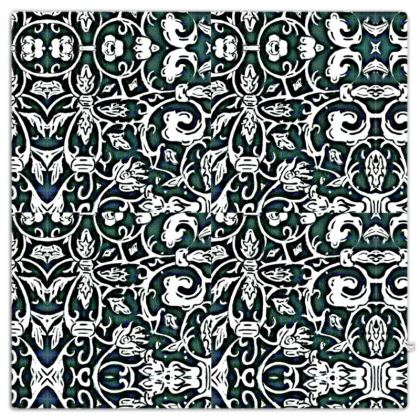 'Victoriana' Throw in Black,White and Green