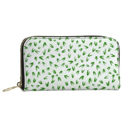Spring freshness - Leather Zip Purse - Simplicity and refined, green and white, leaves, light, floral, natural, abstract, grassy, fine, elegant gift - design by Tiana Lofd