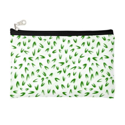 Spring freshness - Zip Top Pouch - Simplicity and refined, green and white, leaves, light, floral, natural, abstract, grassy, fine, elegant gift - design by Tiana Lofd