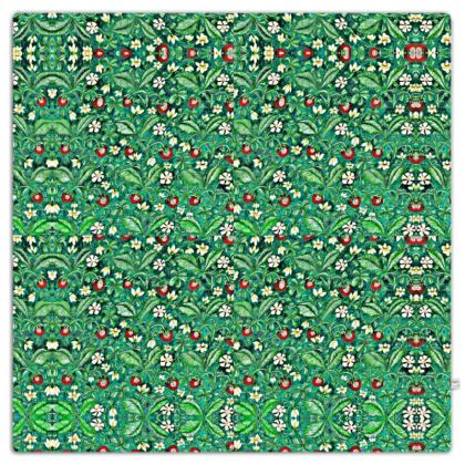 'Strawberries' Throw in Green and Red