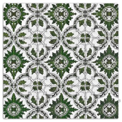 'Majolica' Throw in Green and White