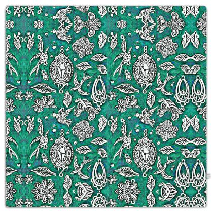 'Fantasia' Throw in Green and White