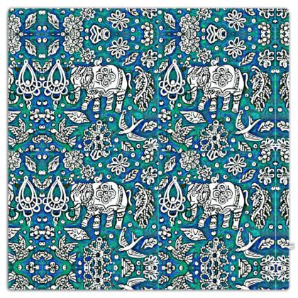 Oriental 'Elephant' Throw in Blue and Green