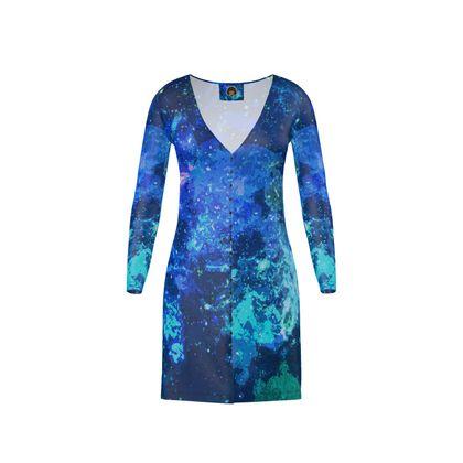 Short Ladies Cardigan - Blue Nebula Galaxy Abstract