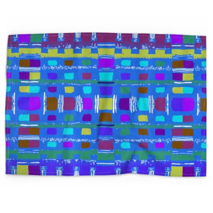 Blue Lattice Pattern Tea Towels