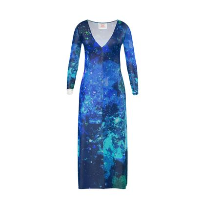 Long Ladies Cardigan - Blue Nebula Galaxy Abstract