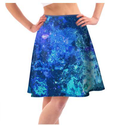 Knee-Length Flared Skirt - Blue Nebula Galaxy Abstract