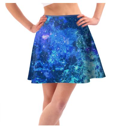 Short Flared Skirt - Blue Nebula Galaxy Abstract
