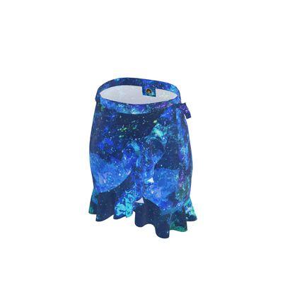 Short Flounce Skirt - Blue Nebula Galaxy Abstract