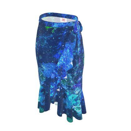 Long Flounce Skirt - Blue Nebula Galaxy Abstract