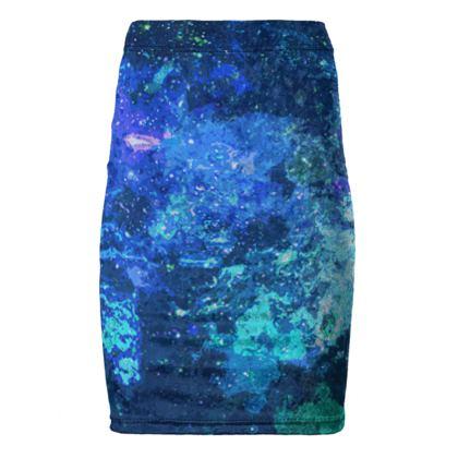 Pencil Skirt - Blue Nebula Galaxy Abstract