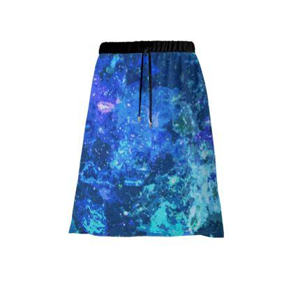 Midi Skirt - Blue Nebula Galaxy Abstract
