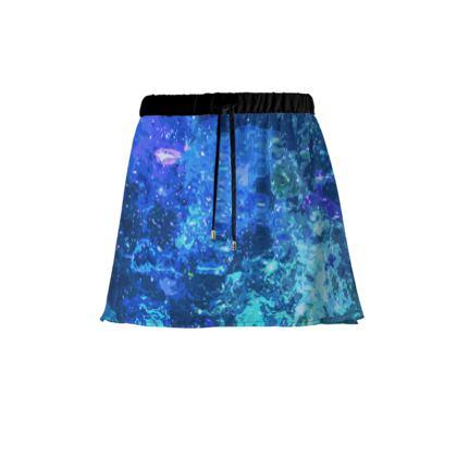 Mini Skirt - Blue Nebula Galaxy Abstract
