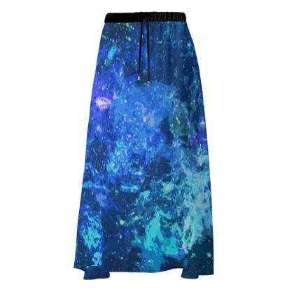 Maxi Skirt - Blue Nebula Galaxy Abstract