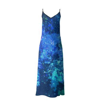 Long Slip Dress - Blue Nebula Galaxy Abstract
