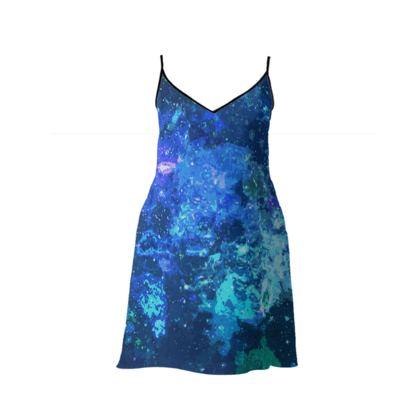 Short Slip Dress - Blue Nebula Galaxy Abstract