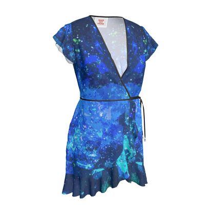 Tea Dress - Blue Nebula Galaxy Abstract