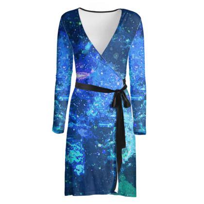 Wrap Dress - Blue Nebula Galaxy Abstract