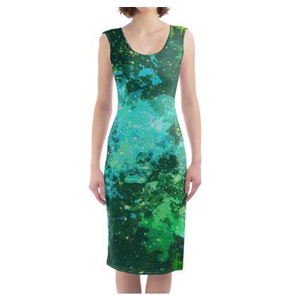 Bodycon Dress - Jade Nebula Galaxy Abstract