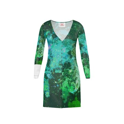 Short Ladies Cardigan - Jade Nebula Galaxy Abstract