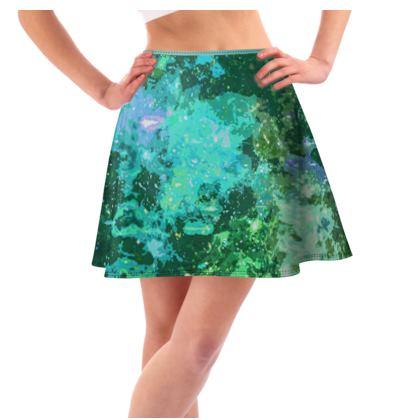Short Flared Skirt - Jade Nebula Galaxy Abstract