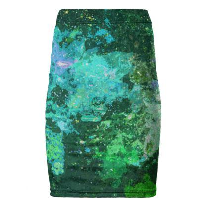 Pencil Skirt - Jade Nebula Galaxy Abstract
