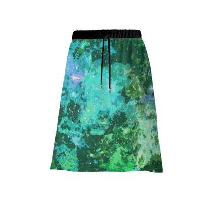 Midi Skirt - Jade Nebula Galaxy Abstract