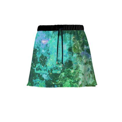 Mini Skirt - Jade Nebula Galaxy Abstract