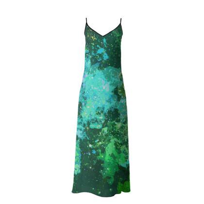 Long Slip Dress - Jade Nebula Galaxy Abstract