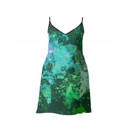 Short Slip Dress - Jade Nebula Galaxy Abstract