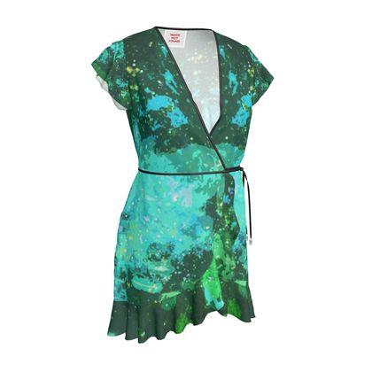 Tea Dress - Jade Nebula Galaxy Abstract