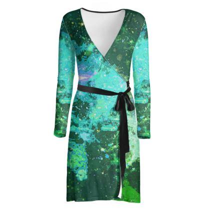 Wrap Dress - Jade Nebula Galaxy Abstract