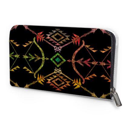 Flossie Aztec Leather Zip Purse