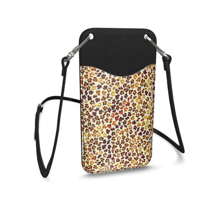 Leopard Skin Collection Leather Phone Case With Strap