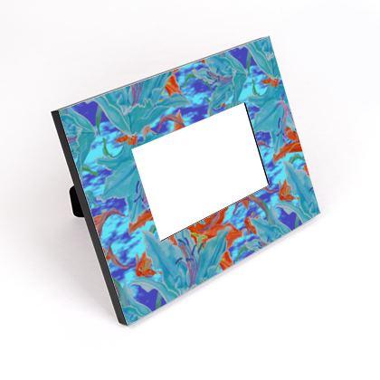 Cut - Out Frame, Blue, Orange, Floral  Lily Garden