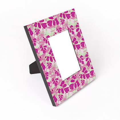 Cut - Out Frame, Pink, Green, Floral  Laced Leaf   Pomegranate.