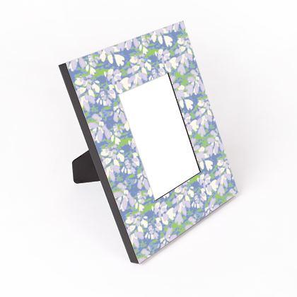 Cut - Out Frame, Blue, Green, Botanical  Laced Leaf   Platinum