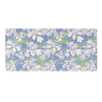 Travel Wallet, Lilac grey, Blue,  Botanical  Laced Leaf   Platinum