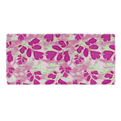 Travel Wallet Pink, Green, Botanical  Laced Leaf  Pomegranate