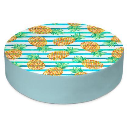 Pineapple Sea Stripes Round Floor Cushions