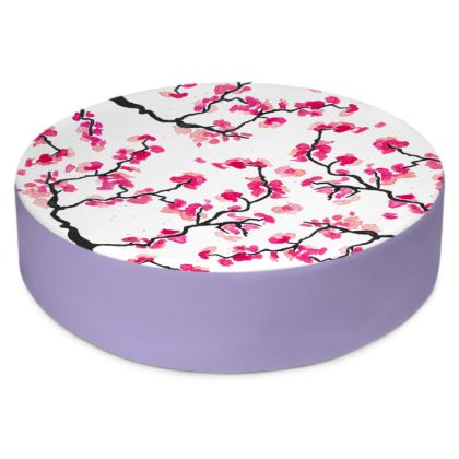 Japanese Cherry Blossoms Round Floor Cushions
