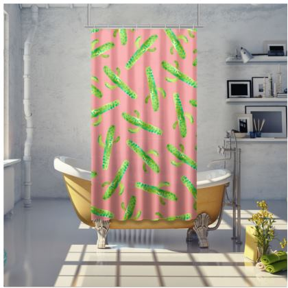 Cactus In Pink Shower Curtain
