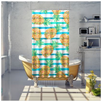 Pineapple Sea Stripes Shower Curtain