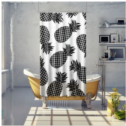 Pineapple In Black Shower Curtain