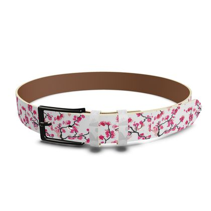 Japanese Cherry Blossoms Leather Belt