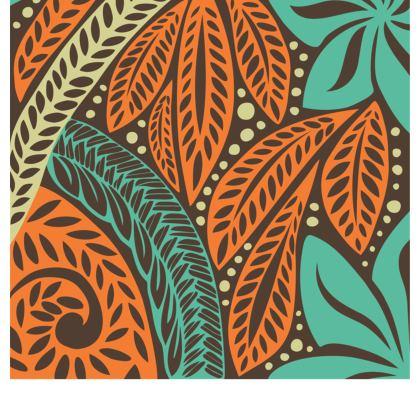 Blue Orange retro Polynesian flower floral tattoo designed flared skirt