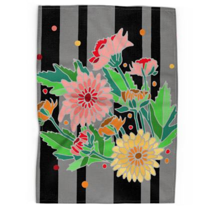 Chrysanthemum Dark Stripe Tea Towels