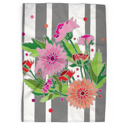 Chrysanthemum Light Stripe Tea Towels