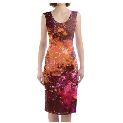 Bodycon Dress - Orange Nebula Galaxy Abstract