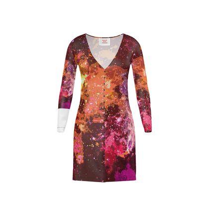 Short Ladies Cardigan - Orange Nebula Galaxy Abstract